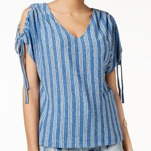 Lucky Brand Women's V Neck Peasant Top (M)
